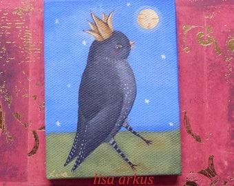 Orinial painting on Miniature canvas  Crow Raven Blackbird