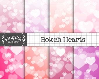 Valentine Digital Paper Pack, Heart Bokeh Background, Ombre Scrapbooking Paper, Digital Paper Bokeh, Purple, Pink, Red, Instant Download