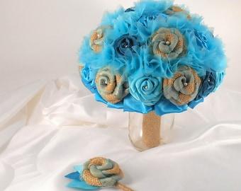Teal Wedding Bouquet, Teal Bridal Bouquet, Fabric Bouquet, Burlap and Lace, Bridesmaid Bouquet, Burlap Bouquet,  Teal, Seafoam, Aqua