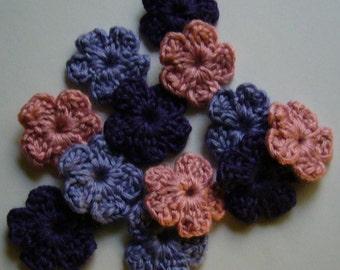 Wool Crocheted Flowers - Pink, Lilac, Purple - Forget-Me-Nots - Crocheted Flower Appliques - Crocheted Flower Embellishments - Set of 6