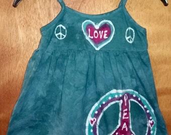 Girls Hand Made Batik Peace and Love Tank Summer Dress