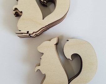 Wooden Squirrel Cut Outs ( Embellishments, Garlands, Forest Theme Decor, Scrap Booking )