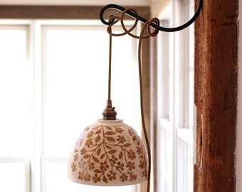 Swag/Pendant Lamp in Rusty Brown and White Hand Carved with Flowers and Birds, on Cloth covered Cord