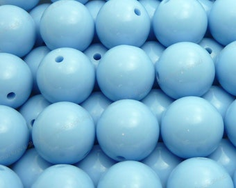 20mm Periwinkle Blue Chunky Bubblegum Beads - 10pcs - Candy Color Gumball Beads, Chunky Beads, Round Acrylic Beads - BR1-13