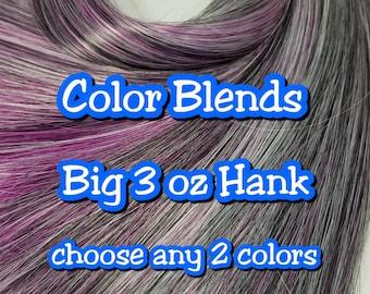 Big 3oz (85g) Hank 2 Color BLENDED Nylon Doll Hair Hank for Rerooting Barbie® Monster High® Ever After High® MLP Royalty Disney