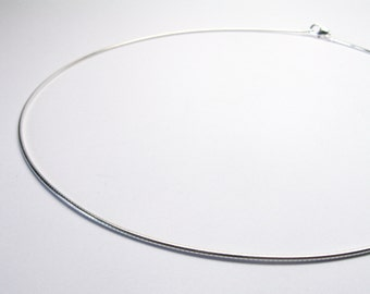 Silver Necklace Silver Necklace Choker 42 cm 1.2 mm sterling Silver 925 Necklace Omega