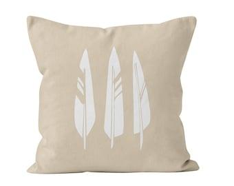 Neutral Farmhouse Feathers Pillow Cover, Modern Farmhouse Decor 18x18 22x22 accent throw pillow cover