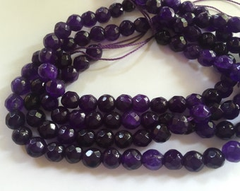 6mm JADE Beads in Purple, Faceted, Round, Full Strand, 62 Pcs, Gemstones, Purple Stone Beads