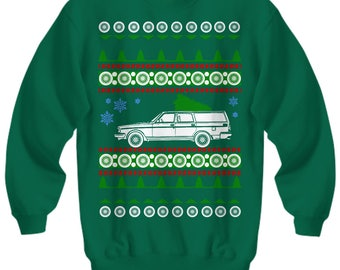 Volvo 245 Wagon Ugly Christmas Sweater Sweatshirt cars holidays swedish gift for volvo owner