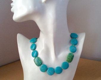 Turquoise Statement Knotted Stone Necklace with Silver, Magnesite and Chrysocolla