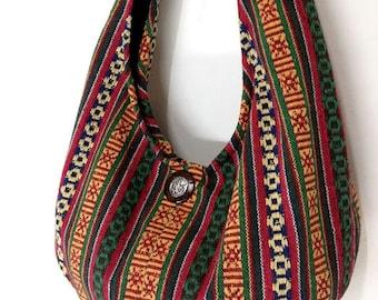 Woven Bag Purse Tote Women bag Thai Cotton Bag Hippie bag Hobo bag Boho bag Shoulder bag Elephant button Everyday bag Short Strap (WF31)