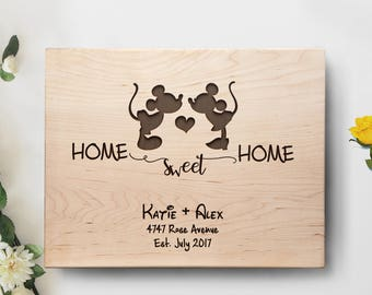 Personalized Disney Wood Cutting Board, Home Sweet Home Mickey and Minnie Board, Wedding Gift, Housewarming Gift, Mickey Mouse, Minnie Mouse