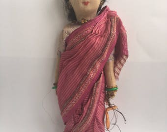 Vintage Cloth Doll Hand Made In India - Hindu Woman Wearing Pink Sari - Holding Bag - Linen and Silk