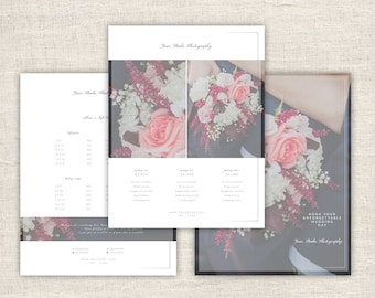 Wedding Pricing Guide Template Design - Photographer Price List Template, Photoshop Design Template for Photographers, INSTANT DOWNLOAD