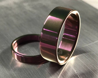 Titanium Wedding Band Set - Matching Ring Set - Rose Gold - Hints of Lavender, Magenta and Fuchsia - His and Hers - Mens Ring - Womens Ring