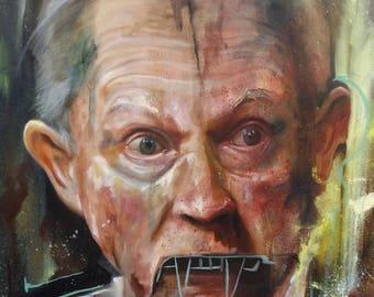 Original Art Prints of Jeff Sessions Painting Political Art #Resist by Karl Jahnke