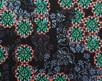 "Floral Filigree C Liberty fabric tana lawn fat quarter 18"" x 26.5"" (45 cm x 67 cm) black green coral grey sand The Weavers Mill"