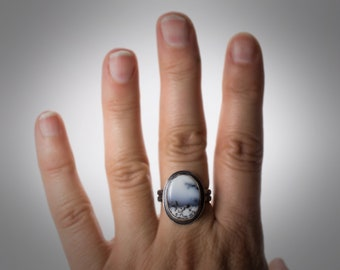 Dendrite Opal Ring, Dendrite Agate Ring, Merlinite Ring,  Metal Smith Ring, Hand Fabricated Ring