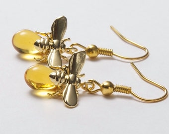 Bee Earrings. Bee and honey drop. Honey bee earrings. Gold bee earrings. Insect Jewellery. Christmas gift. Gold and Amber Earrings.