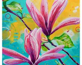 "Pink Magnolias - Original colorful traditional acrylic painting on paper 9""x12"""