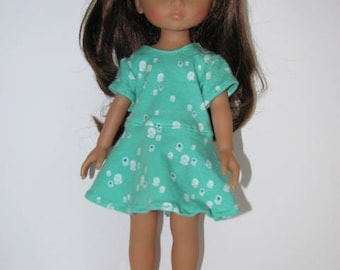 Green skater dress for Corolle Les Cheries and Hearts for Hearts Girls
