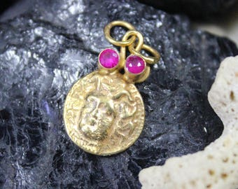 Bronze Coin With Ruby Pendant Handmade 925K Sterling Silver Hammered Pendant 18K Gold Plated Over Silver