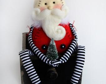 Santa Cloth Doll - Whimsical Santa - Wool Felt Santa - Santa Art Doll - Made To Order