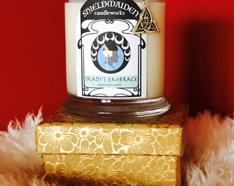 """Peppermint vanilla scent soy candle """"Skadi's Embrace"""" 12oz Viking Natural Soy Container Candle With Lid Shieldmaiden Candleworks Yule Gift"""