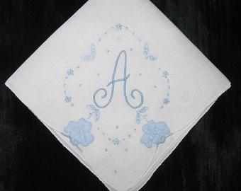 Something old new borrowed blue ideas romantic wedding vintage handkerchief Gift embroidered madeira hankie