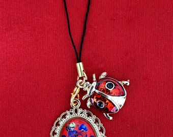 Bag charm or smartphone - Ladybug and black cat - key or phone accessory