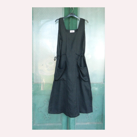 FLAX Engelheart Sleeveless Sundress from Summer 1996 in Black Handkerchief Linen
