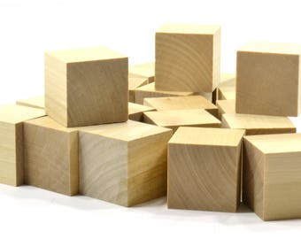 """16 Piece Set of 1-1/2"""" Unfinished Wooden Blocks-High Quality Natural Wood-Ready for Paint or Stain"""