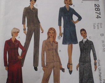SALE - Misses/Misses Petite Shirt Jacket, Pants and Bias Skirt Sewing Pattern - McCalls 2874 - Size 8-10-12, Bust 31 1/2 - 34, Uncut