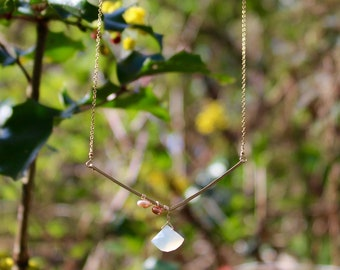14K Gold Necklace with Milky Quartz and Freshwater Pearls