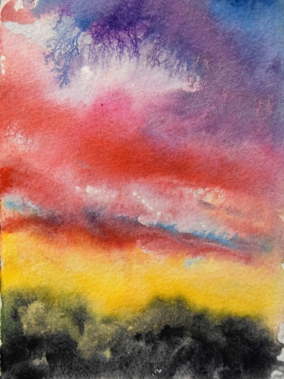 Painting, watercolor, Colorado Sunset