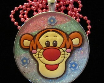 Tiger Tigger Necklace-Rainbow-Handmade Resin Pendant Jewelry