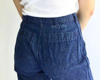 Vintage 30 Waist Dark Wash Cropped Flare Jean   70s Bell Bottom Kick Flare   Nautical Birkin Sailor Demi Boot