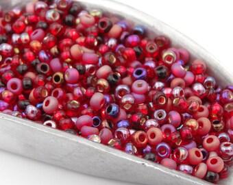 Czech Glass 10/0 Ruby Mix Seed Beads  20 Grams