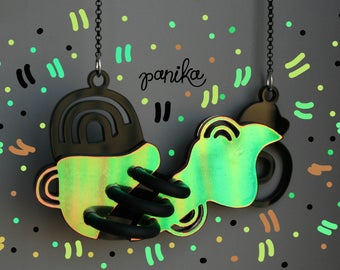 PANIKA tubes necklace / statement holographic necklace / laser cut acrylic necklace