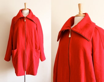 Vintage 1980s Oversize Collar Red Wool Cashmere Coat