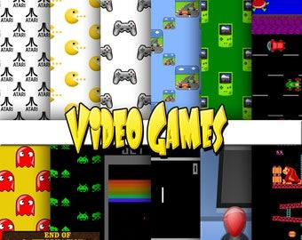 Video games digital paper, background, scrapbook