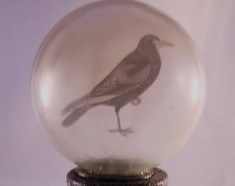 Mystic Raven Glass Orb Decoration//Halloween Home Decor//Raven Collectibles
