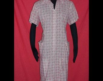 Red Plaid Novelty Cars Print Dress Daydress XL 18 B50 Vintage 60s