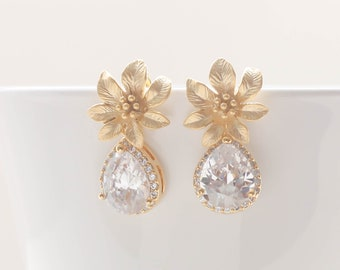 Cubic Zirconia  Earrings. Gold Flower Earrings. Bridal Jewelry. Bridesmaid Earrings. 925 Sterling Silver Post. Everyday Earrings.