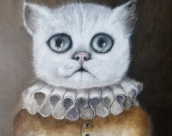 Mr Cat, painting, popsurrealism, lowbrow art, oil on canvas