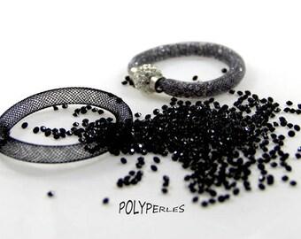 Kit (8mm) mesh tube Bracelet black and black rhinestones