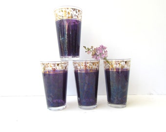 Vintage Mid Century Style Barware - Set of 4  Purple and Gold Colored Glasses - Metallic Gold Accent - Tumblers - Highball -
