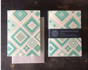 6 Diamonds Letterpress Notecards - Green & Tan