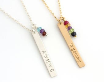 Personalized Mom Necklace with Birthstones/Mothers Birthstone Necklace/Birthstone Family Tree Necklace/Grandmother's Necklace/Mom Gift/N292