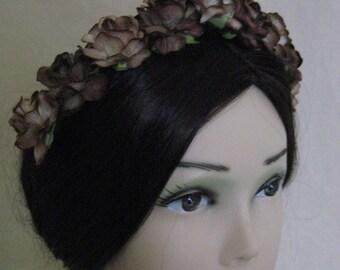 Coffee Brown Rose Coronet/Headdress. Civil War, Victorian, Bridal. HANDMADE
